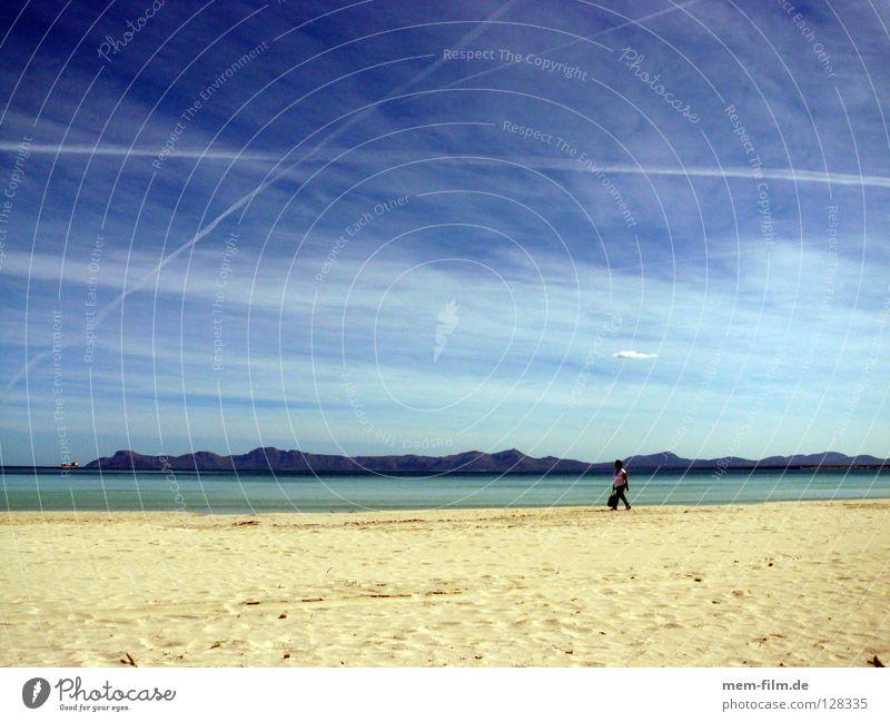 beach walk Vacation & Travel Beach Majorca Summer Vapor trail Spain Earth Sand Europe To go for a walk Mediterranean sea Blue sky sandpiper