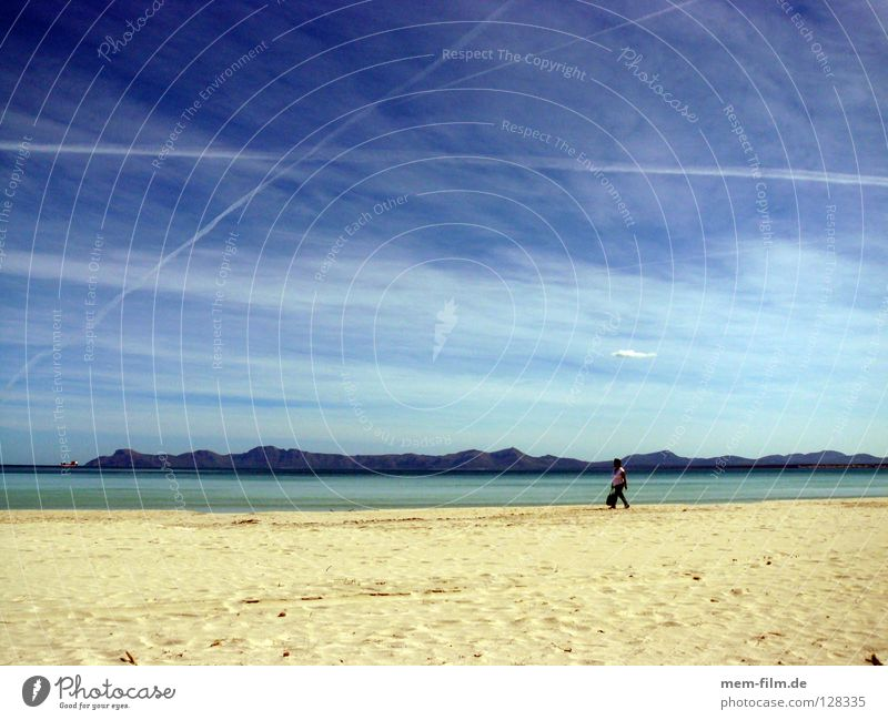 Summer Beach Vacation & Travel Sand Earth Europe To go for a walk Spain Majorca Blue sky Mediterranean sea Vapor trail