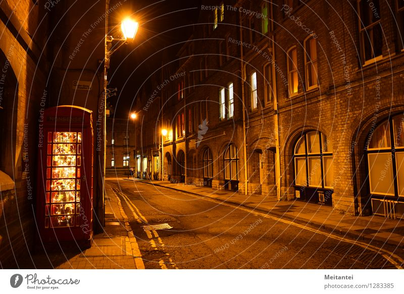 Oxford Night England Europe Town Downtown House (Residential Structure) Phone box Street Illuminate Moody Calm Night shot Colour photo Exterior shot