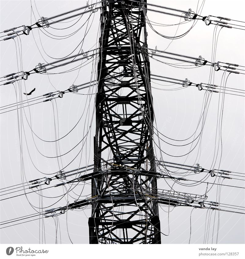 tangled cables Electricity pylon Electronic Gray Wire Iron Environment Cable Power Power failure Impaired consciousness High voltage power line Construction