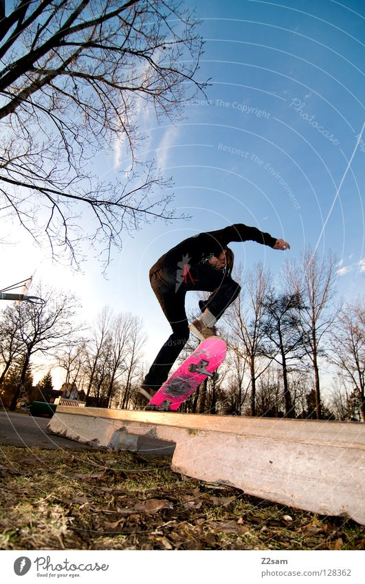 frontside boardslide I Action Skateboarding Contentment Kickflip Salto Jump Striped Tar Concrete Light Tree Wide angle Youth (Young adults) Sports Puddle