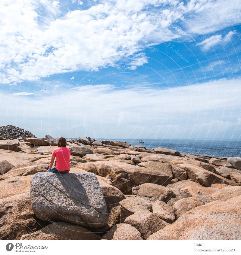 Rocks at Rockport Vacation & Travel Tourism Far-off places Beach Human being Feminine 1 Environment Nature Landscape Elements Earth Water Sky Clouds Sun Summer