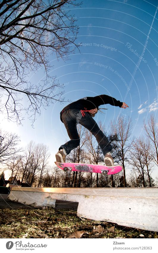 frontside boardslide II Action Skateboarding Contentment Kickflip Salto Jump Striped Tar Concrete Light Tree Wide angle Youth (Young adults) Sports Puddle