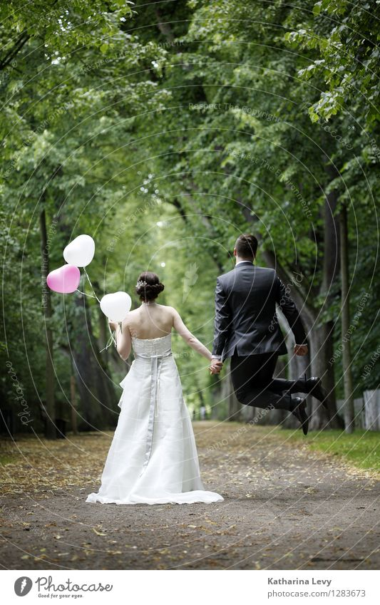 . Joy Happy To go for a walk Wedding Young woman Youth (Young adults) Young man Couple Partner Life 2 Human being 18 - 30 years Adults Landscape Tree Park