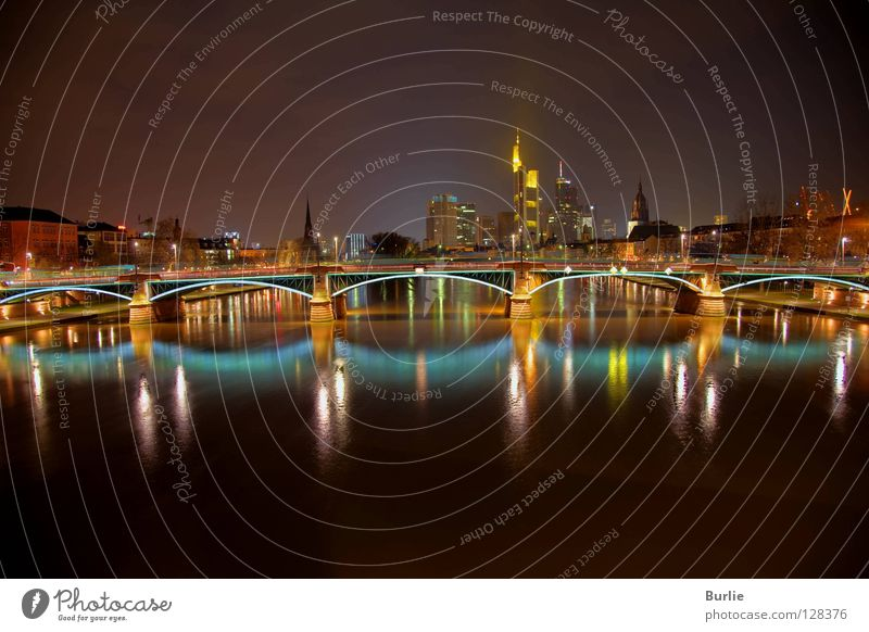 Frankfurt Bridge Magic Main Night Glittering Light banks of the Main Colour Light (Natural Phenomenon)