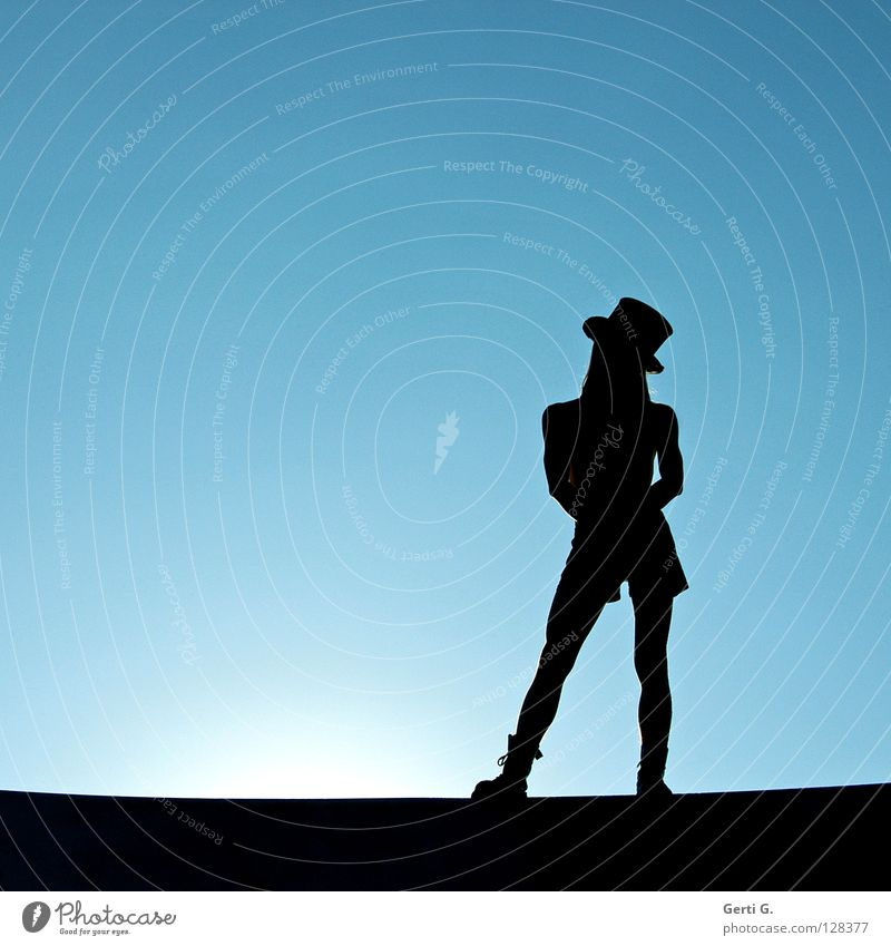Youth (Young adults) Man Blue Beautiful Sun Young man Black Playing Stand Posture Thin Model Hat Boots Musculature Circus