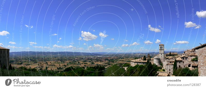 blue sky Assisi Italy Panorama (View) Field Agriculture Town Clouds Kitsch Tree Vantage point Summer Historic Tower Sky Blue Large Panorama (Format)