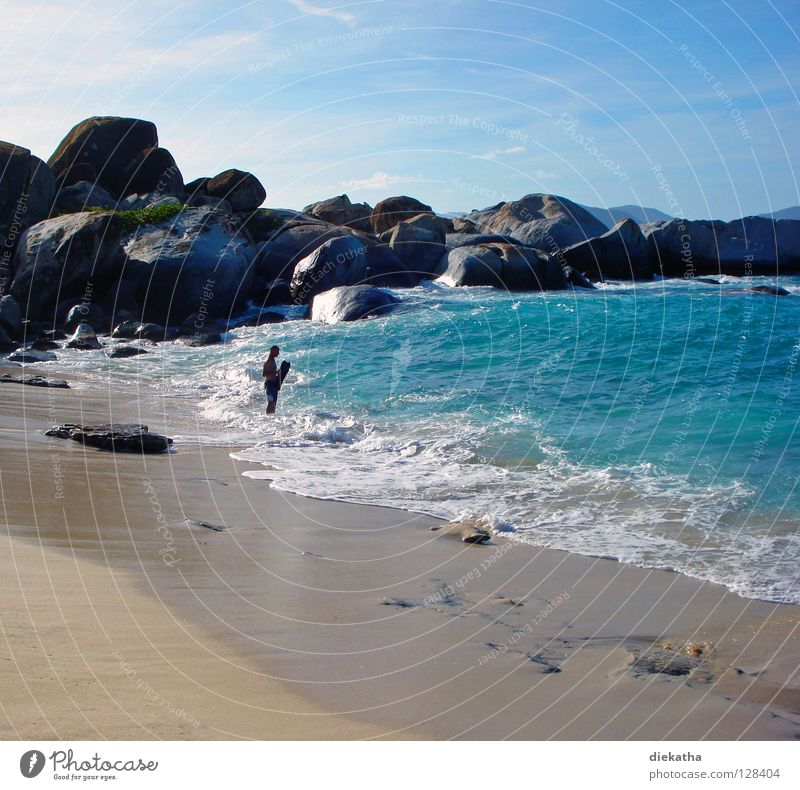 Human being Man Blue Water Vacation & Travel Ocean Beach Relaxation Mountain Sand Stone Weather Waves Wind Fear Rock
