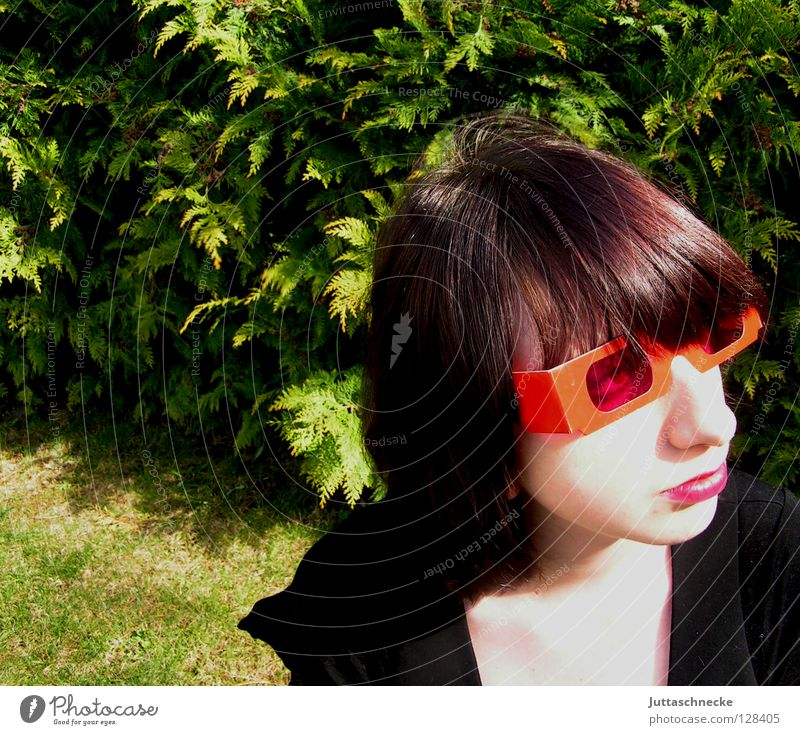 Human being Woman Youth (Young adults) Red Emotions Garden Funny Pink Success Cool (slang) Eyeglasses Mask Mysterious Hide Sunglasses Bangs