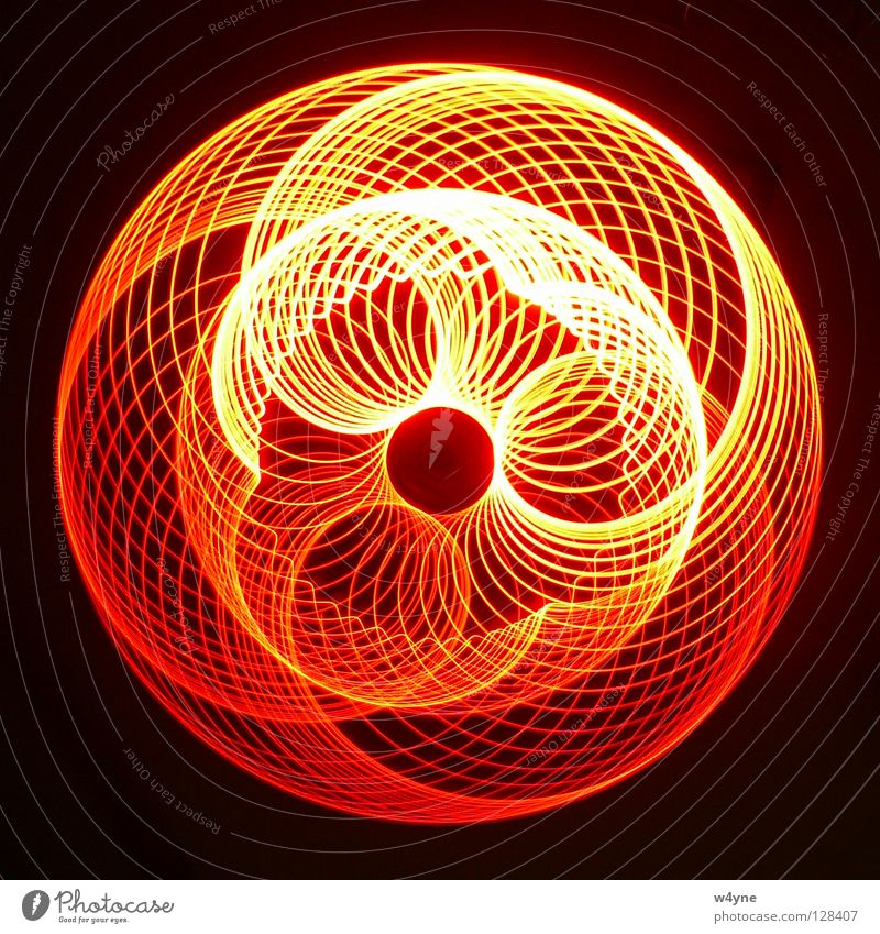 [Order To Chaos] Series Long exposure Red Yellow Spiral Abstract Round Waves Pattern Black Electrical equipment Technology Concentrate luminography Circle LED