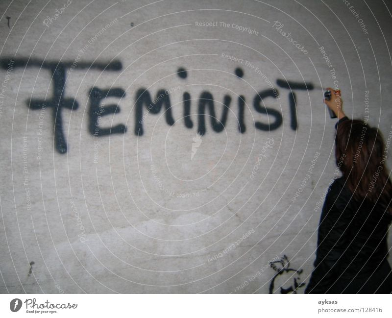 feminist Vienna Street art Exterior shot Wall (building) Gray Night Graffiti Mural painting Woman Art Culture Soho in Ottakring arts festival