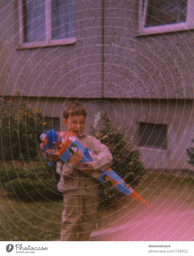 Then. Joy Child School Boy (child) Infancy Concrete Nostalgia School candy cone New building First day at school Analog Colour photo Exterior shot Day