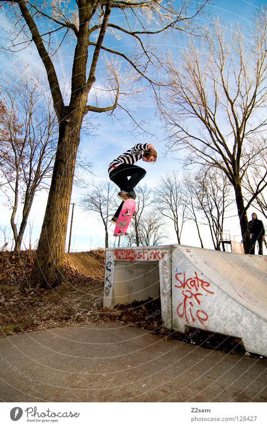 backside 180° Driving Skateboarding Approach road Tar Speed Sports Action Striped Style Youth (Young adults) Easygoing Tree Jump Rotate Meter Pink Physics