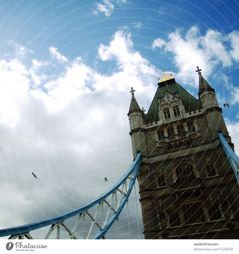 Sky Sun Vacation & Travel Clouds Bird Bridge Tower Might Landmark London England Bad weather Great Britain Drawbridge Tower Bridge