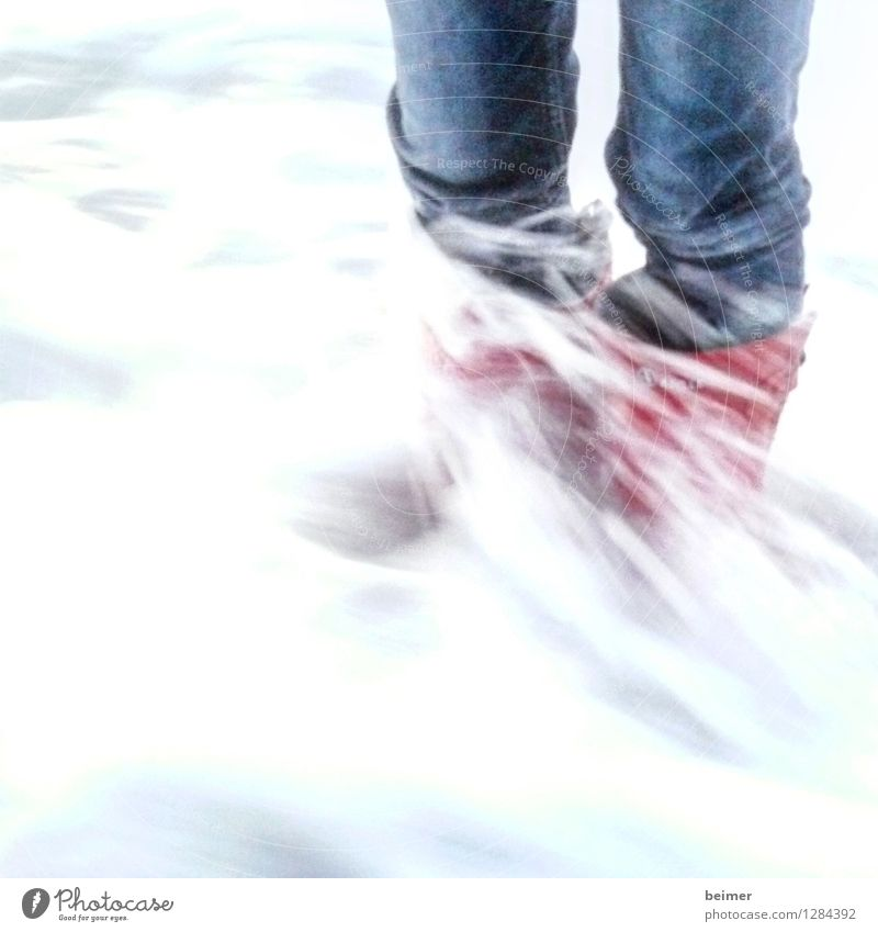 high tide Ocean Legs Water Waves Rubber boots Stand Cold Wet Wild Blue Red Power Life Brave Colour photo Exterior shot Abstract Copy Space bottom Day
