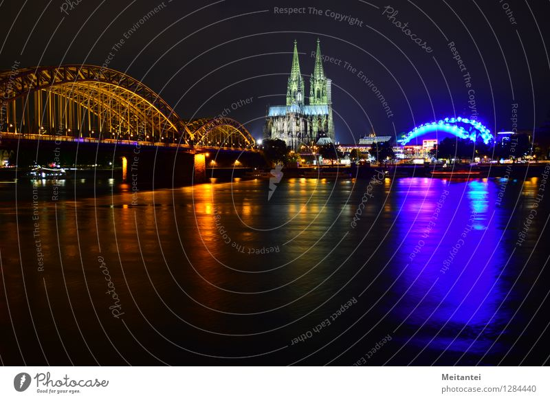 Skyline Cologne Germany Europe Town Downtown Dome Bridge Tourist Attraction Landmark Cologne Cathedral Illuminate Multicoloured Colour photo Exterior shot