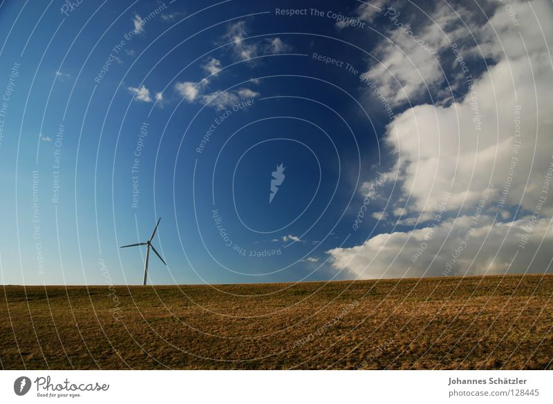 Sky Blue Green Summer Clouds Landscape Spring Grass Rain Power Field Energy industry Electricity Agriculture Wind energy plant Science & Research