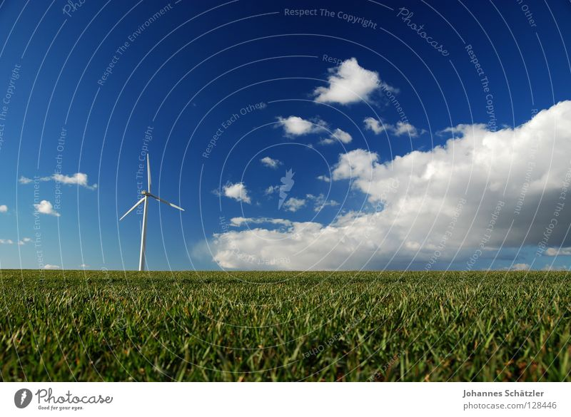 Picnic in the countryside Field Grass Agriculture Wind energy plant Science & Research Electricity Power Clouds Sky Spring Summer Sowing Green Polarisation