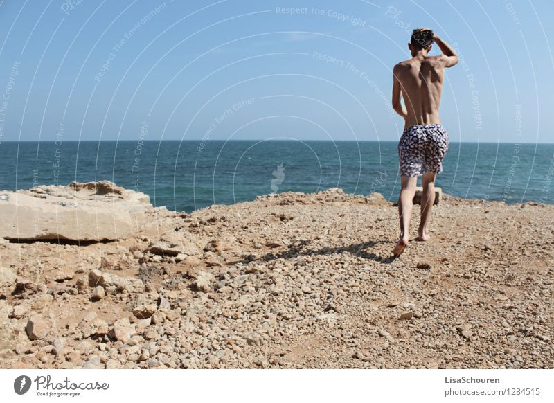 summer love Human being Masculine Young man Youth (Young adults) 1 18 - 30 years Adults Nature Water Sky Summer Swimming trunks Brunette Stone Movement Walking