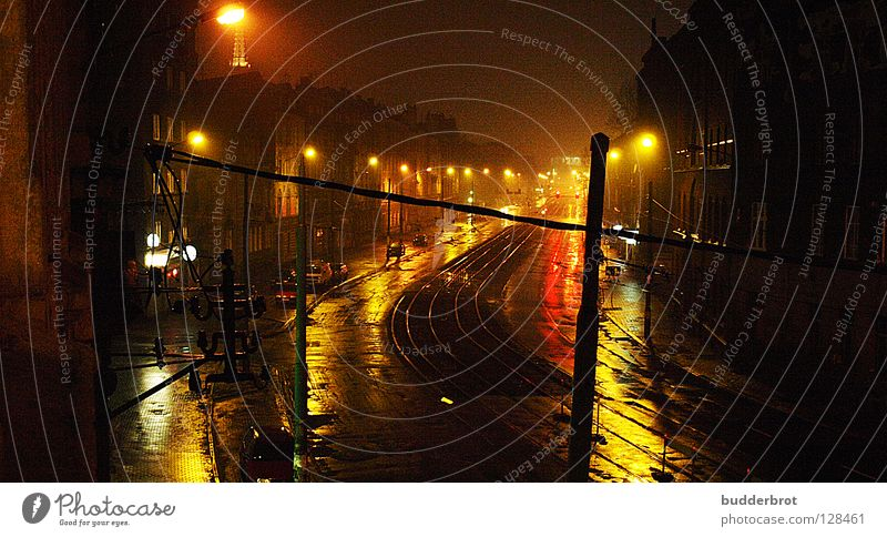 katowice - night Night Light Katowice Lantern Dark Main street Traffic infrastructure Street Poland reflection Rain