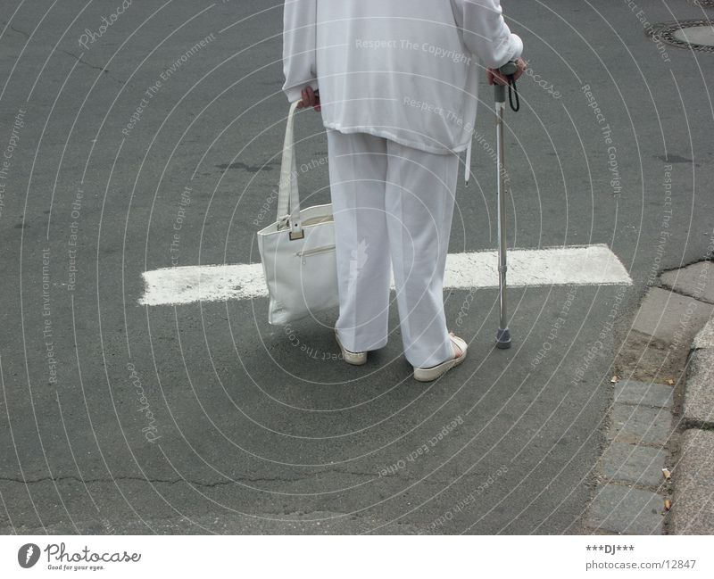 Woman White Street Senior citizen Gray Wait Stand Stick Traverse