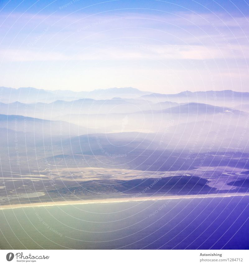 Approach to Morocco Environment Nature Landscape Plant Water Sky Clouds Horizon Summer Weather Fog Hill Coast Ocean Atlantic Ocean Africa Dark Large Blue White