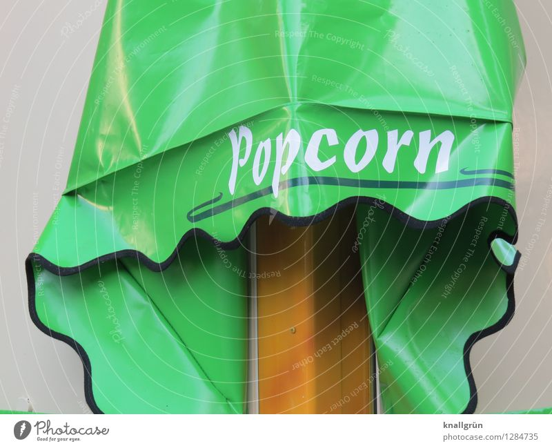 PopCorn Food Candy Nutrition Sun blind Characters Communicate Green White Emotions Appetite Gluttony Voracious Infancy Nostalgia Popcorn Advertise Advertising