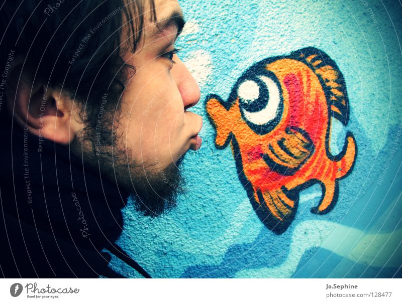 Human being Youth (Young adults) Joy Adults Love Graffiti Young man Head 18 - 30 years Sweet Cute Fish Facial hair Kissing Affection Absurdity