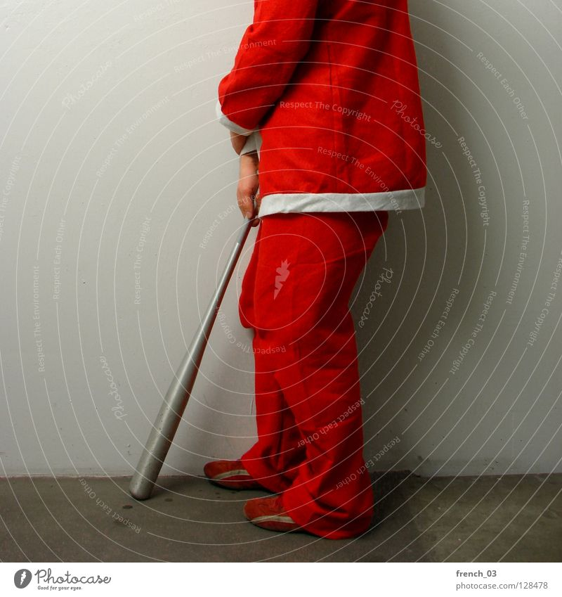 Nobody thinks about me anymore Festive Public Holiday Santa Claus Red White Smock Man Hand Pants Suit Crossed Wall (building) Gray Shadow Headless Grief