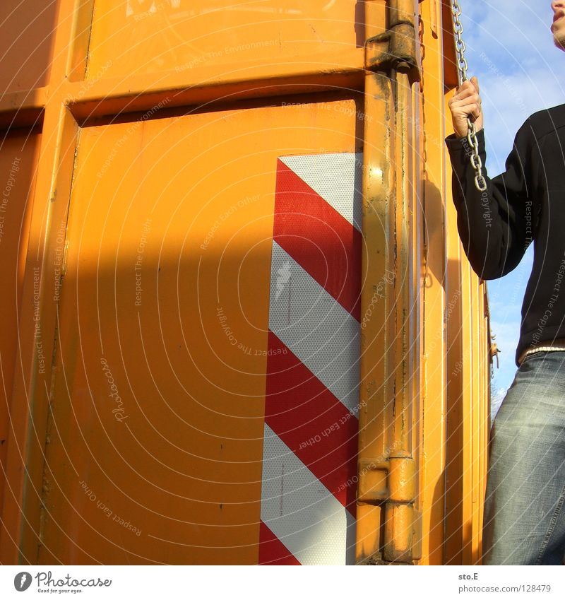 Human being Old Blue Hand Colour Dirty Arrangement Railroad Industry Posture Derelict Pants Jacket Rust Chain Guy