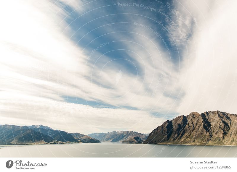 lake hawea Nature Landscape Beautiful weather Rock Alps Mountain Peak Canyon Large New Zealand Lake Hawea Wanaka River Fjord Clouds Cervice Summer South Island