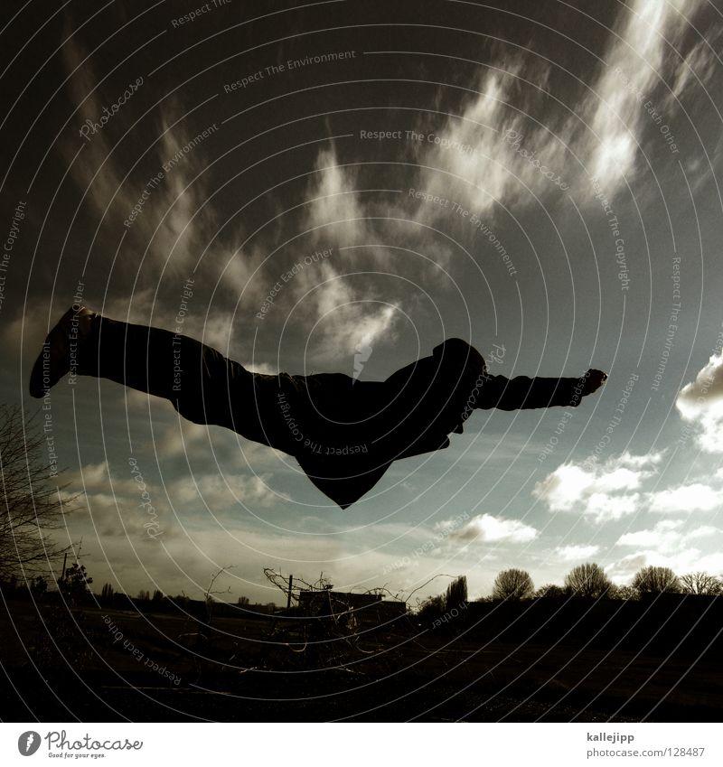 Human being Sky Man Landscape Warmth Legs Freedom Earth Jump Air Earth Free Aviation Crazy Arm Beginning