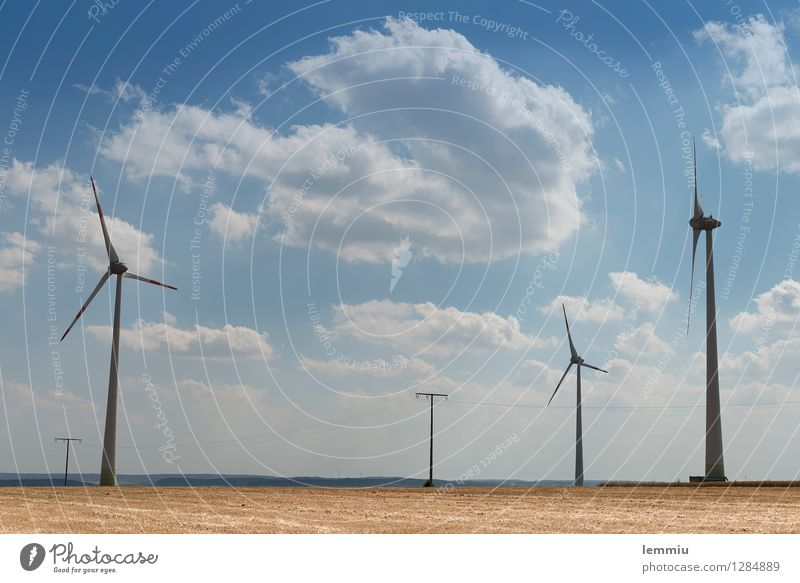 windmills Technology Advancement Future High-tech Energy industry Renewable energy Environment Nature Landscape Sky Clouds Summer Beautiful weather Wind