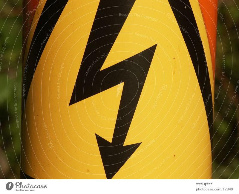 High voltage! Electricity Electronic Yellow Deep Dangerous Electrical equipment Technology Mud flats Arrow Orange Tall Threat Caution