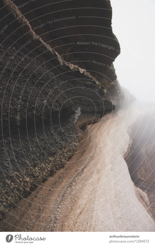 Stone layers in fog Leisure and hobbies Vacation & Travel Tourism Trip Far-off places Mountain Hiking Climbing Mountaineering Archeology Environment Nature