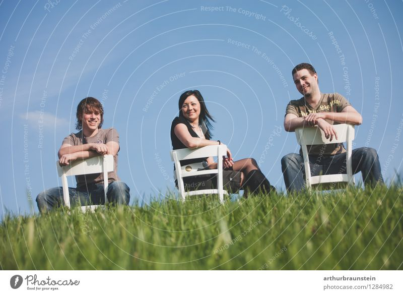 Brothers and sisters on outdoor chairs Joy Human being Masculine Feminine Young woman Youth (Young adults) Young man Sister Family & Relations Friendship Adults