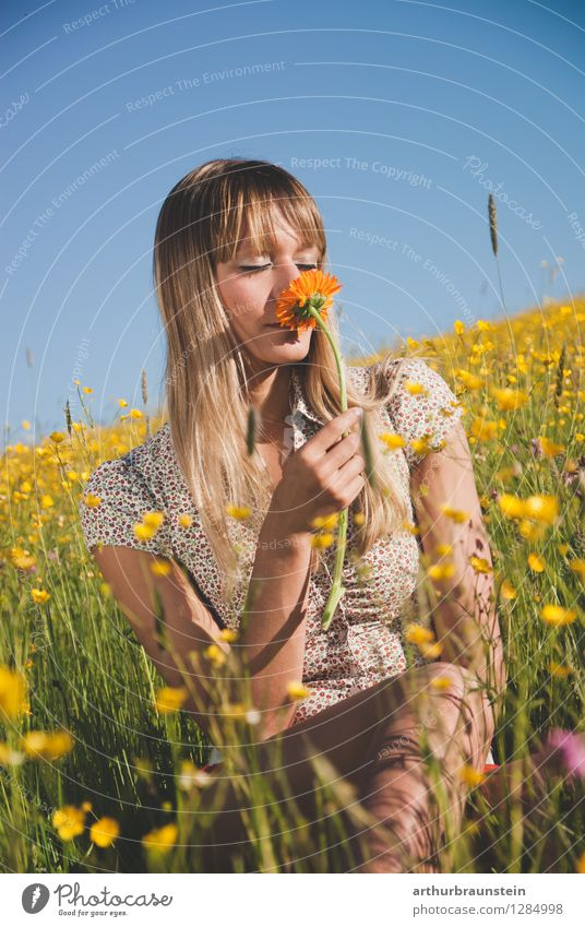 Human being Woman Nature Youth (Young adults) Blue Summer Young woman Sun Flower Landscape Joy 18 - 30 years Adults Yellow Life Blossom