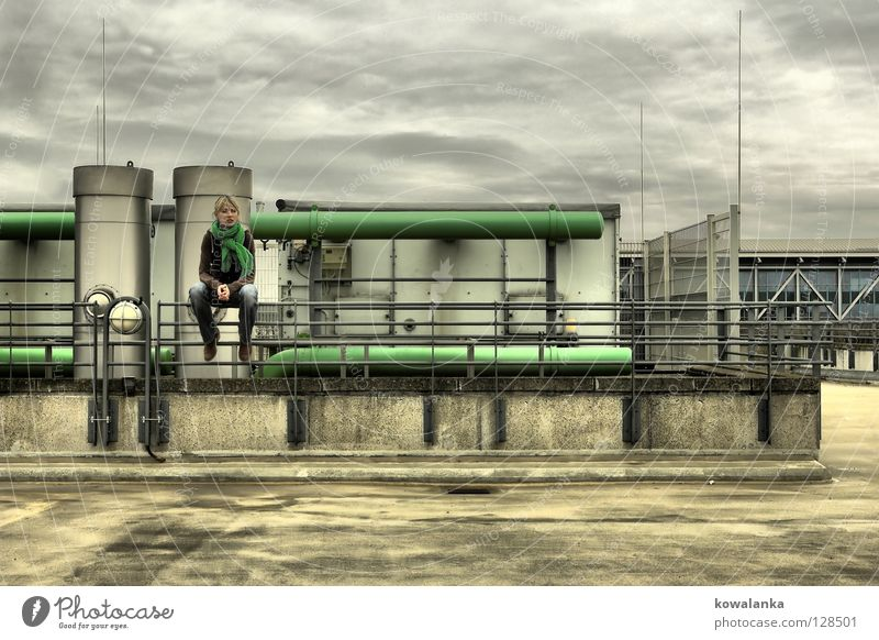 Woman Sky Warmth Rain Wait Sit Empty Industry Factory Roof Physics Pipe Boredom Storm Heater