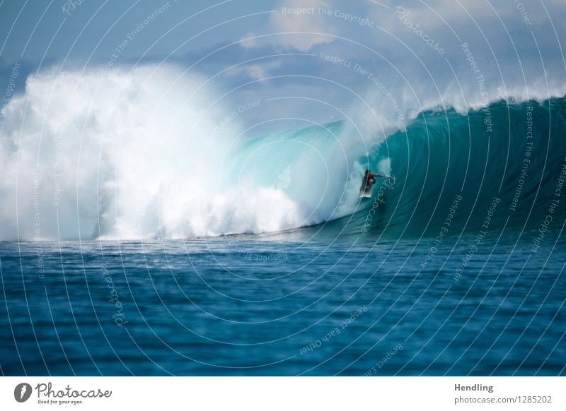 Surfing Indonesia II Water Climate Life Waves Surfer Ocean Dangerous Human being Force Blue Surfboard Reef Violet Pure Cool (slang) Sky Island Thrill