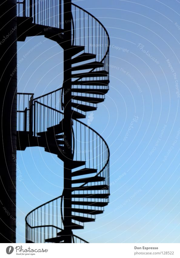 Sky Blue Lanes & trails Line Elegant Stairs Thin Illustration Easy Rotate Ladder Handrail Construction Snail Spiral