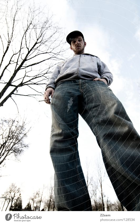 Human being Sky Man Old Tree Clouds Style Large Masculine Perspective Cool (slang) Stand Might Posture Jeans Smoking