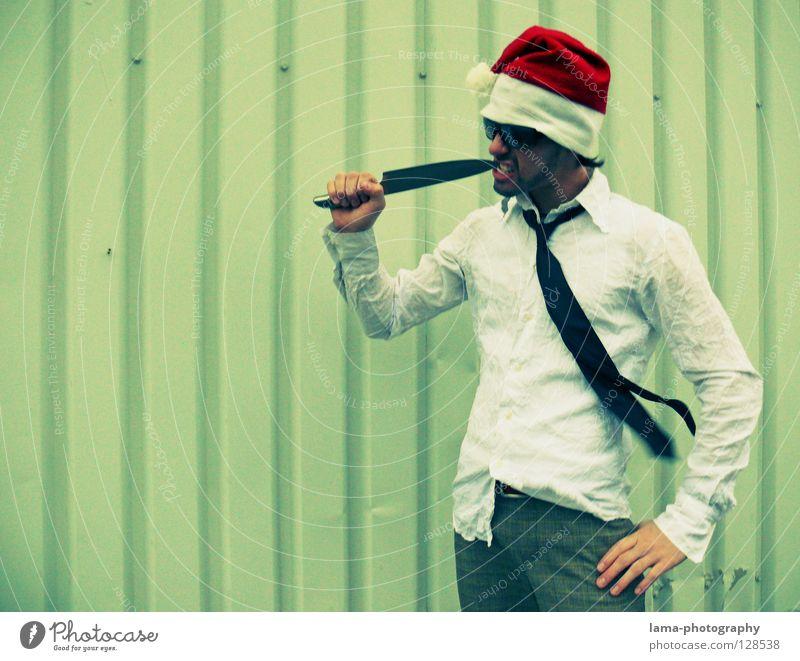 Man Christmas & Advent Joy Crazy Anti-Christmas Nutrition Cool (slang) Teeth Kitchen Feasts & Celebrations Hat Santa Claus Shirt Cap Suit Restaurant