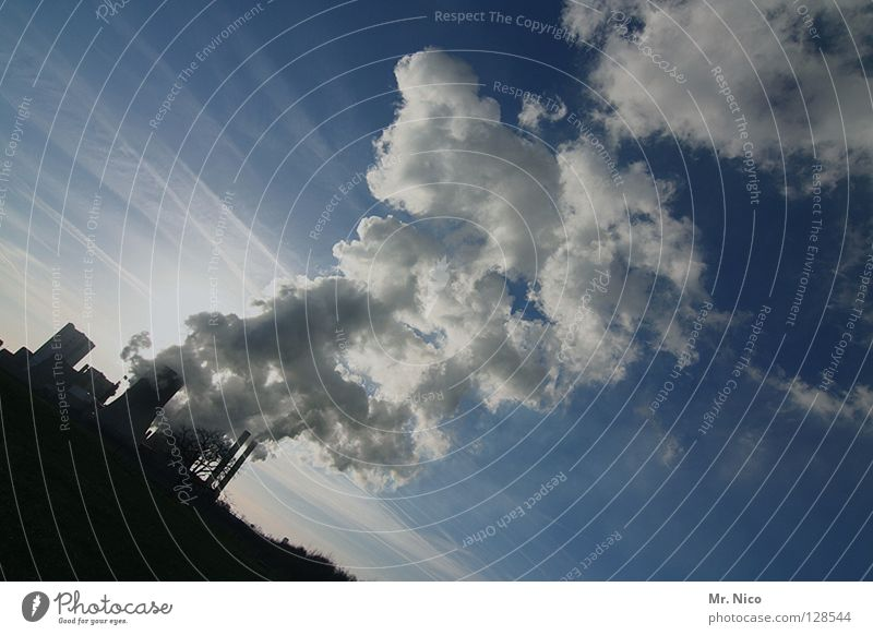 Sky White Blue Clouds Dark Fog Crazy Perspective Industry Energy industry Electricity Technology Factory Science & Research Smoke Pipe