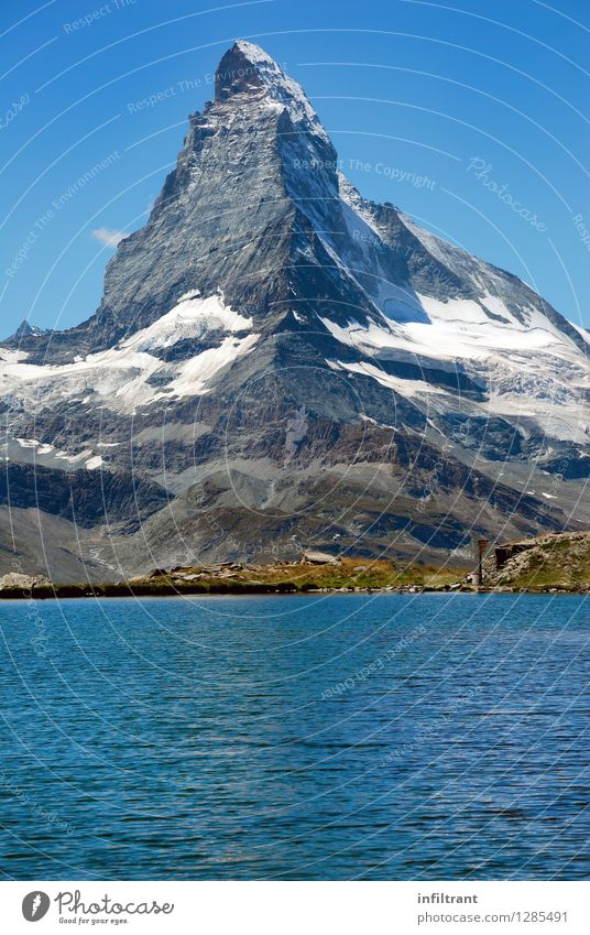 Matterhorn and mountain lake Trip Adventure Summer Summer vacation Mountain Hiking Environment Nature Water Cloudless sky Rock Alps Peak Snowcapped peak Lake