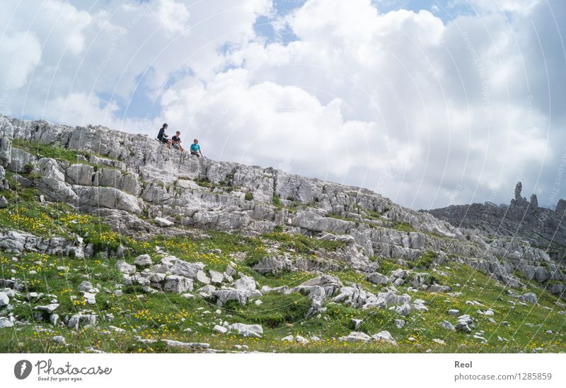 Airy picnic Vacation & Travel Tourism Trip Far-off places Summer vacation Hiking Human being 3 Environment Nature Landscape Elements Sky Clouds Meadow Rock Alps