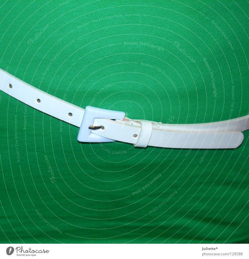 Woman Beautiful White Green Elegant Clothing T-shirt Stomach Hollow Chic Belt Hip Buckle Waist