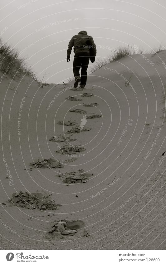 Loneliness Sadness Lanes & trails Grief Longing Brave Footprint Upward Weight Beach dune Effort Heavy Tracks