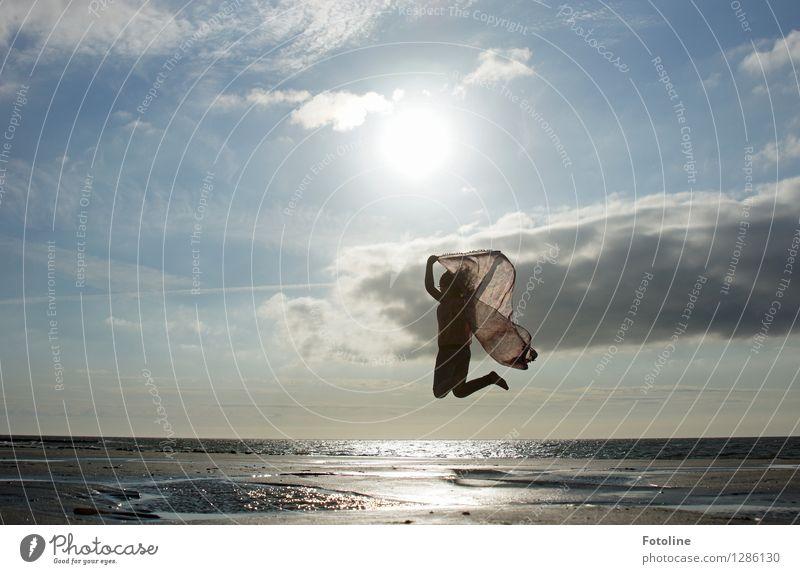 Human being Sky Child Nature Summer Ocean Clouds Girl Beach Environment Warmth Feminine Coast Bright Jump Free