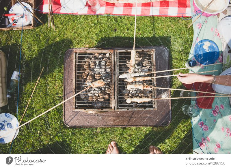 Plug grills in the garden Food Meat Sausage Lettuce Salad Dough Baked goods Bread Nutrition Beverage Crockery Plate Cutlery Knives Fork Lifestyle Healthy Eating