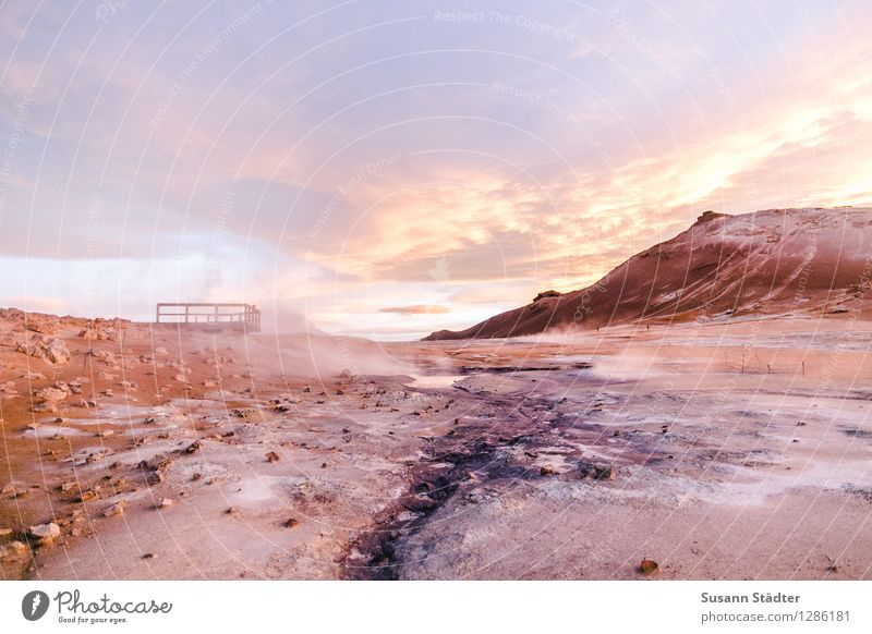 mission mars Nature Landscape Elements Clouds Sunrise Sunset Sunlight Climate Fog Mountain Desert Balcony Vacation & Travel Steam Sulphur Sulfur spring Iceland